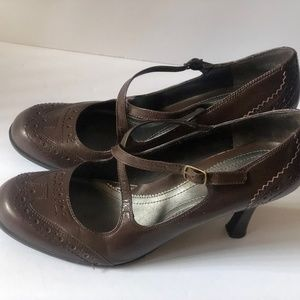 Nine West Womens Shoes Heels Leather Brown Size 9.